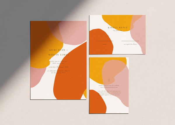 Bright Abstract Wedding Invitation Template by Amy Tarah Designs