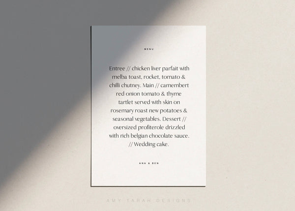 Simple Modern Menu Card Template by Amy Tarah Designs