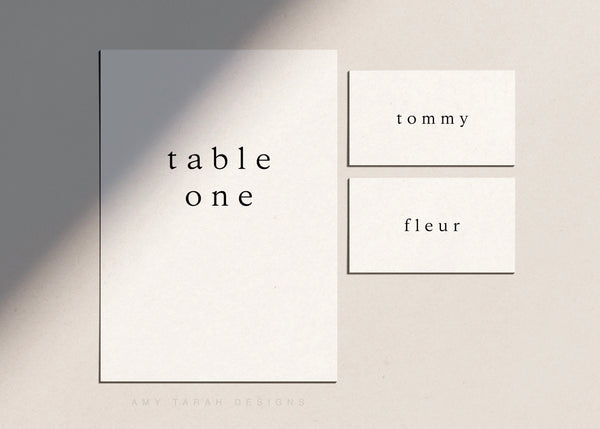 Minimalist Table Numbers and Escort Cards for Weddings and Events by Amy Tarah Designs