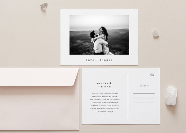 Minimalist Wedding Thank You Card by Amy Tarah Designs