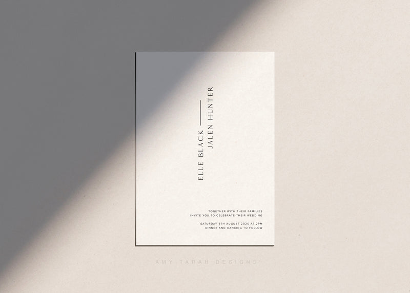 Minimalist Classic Wedding Invitation by Amy Tarah Designs