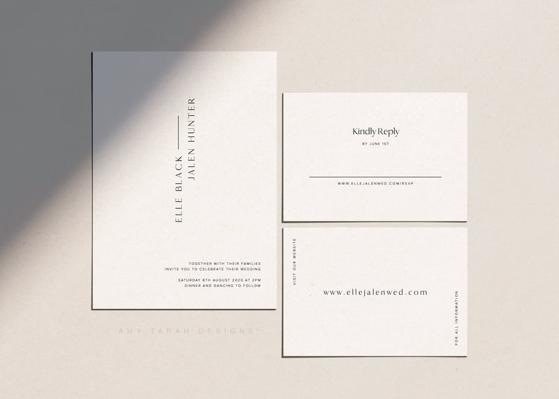 Minimalist Classic Wedding Invitation Suite by Amy Tarah Designs