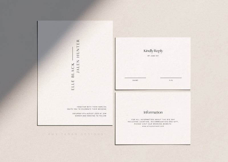 Minimalist Classic Wedding Invitation Template by Amy Tarah Designs