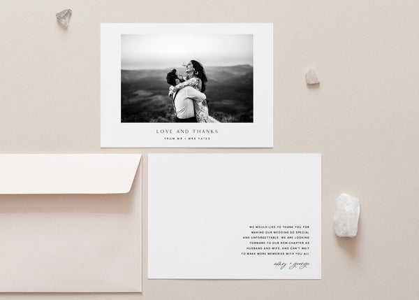 Minimalist Classic Wedding Thank You Card by Amy Tarah Designs