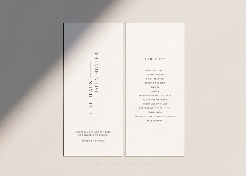 Modern Classic Wedding Program Order of Service by Amy Tarah Designs