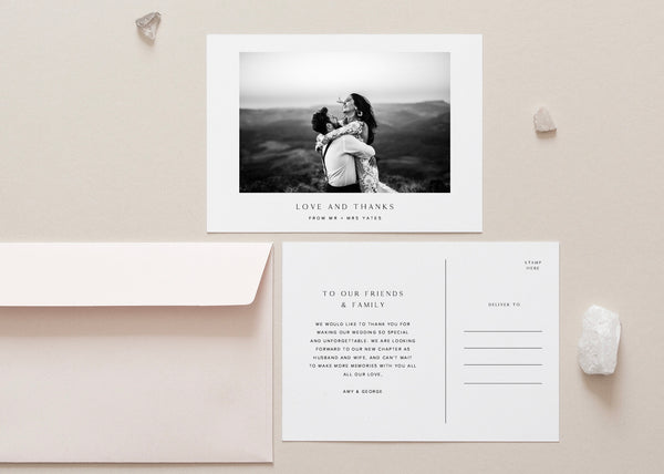 Modern Classic Wedding Thank You Postcard by Amy Tarah Designs