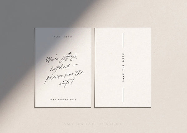 Simple Modern Save The Date with Hand Lettering by Amy Tarah Designs