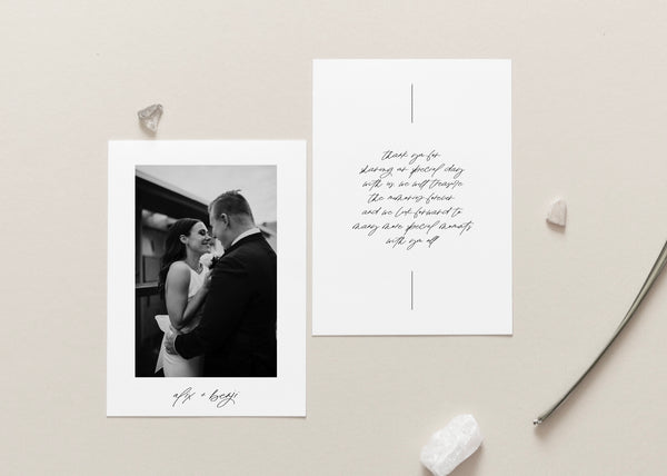 Simple Modern Wedding Thank You Card with Hand Lettering and Geo Lines by Amy Tarah Designs