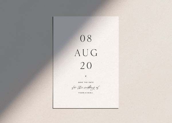 Simple, Minimal Numeric Save The Date. Classic Text with Hand Lettering by Amy Tarah Designs