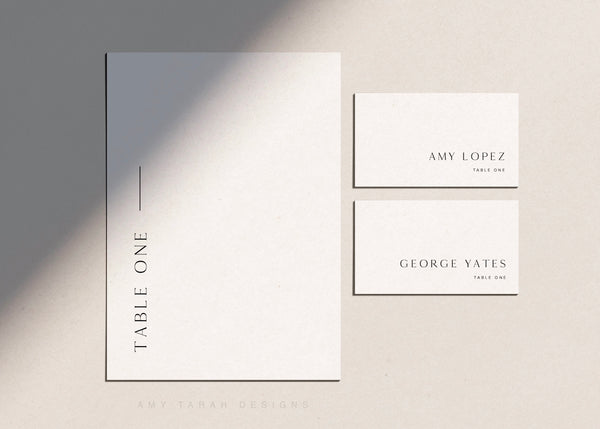 Minimalist Classic Wedding Table Signs and Escort Cards by Amy Tarah Designs
