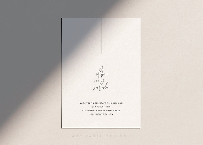 Simple Modern Wedding Invitation with Hand Lettering by Amy Tarah Designs