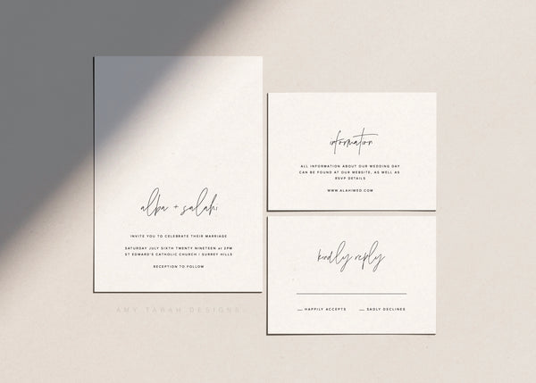 Minimalist Wedding Invitation Set by Amy Tarah Designs