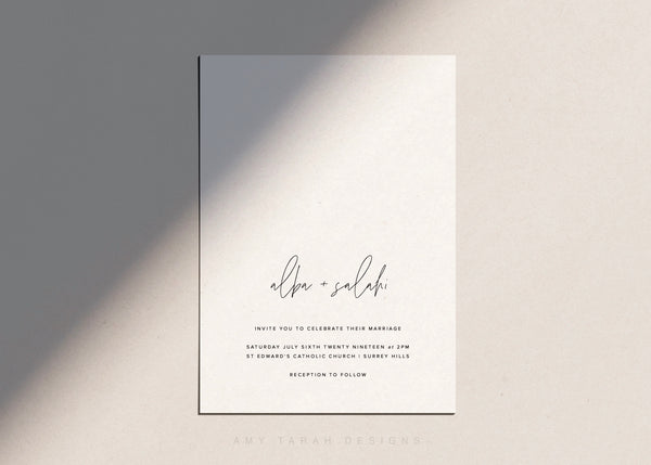 Minimalist Wedding Invitation by Amy Tarah Designs