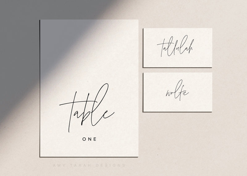 Simple Modern Table Numbers and Place Cards with Hand Lettering by Amy Tarah Designs