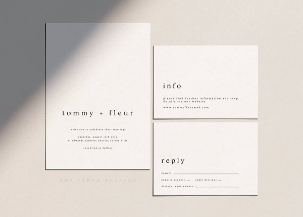 Minimalist Wedding Invitation Template Set by Amy Tarah Designs