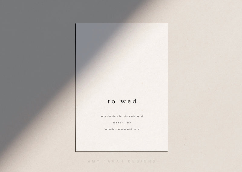 Minimalist Save The Date Card by Amy Tarah Designs