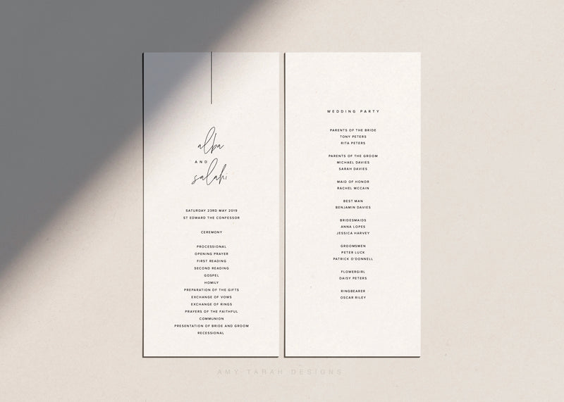 Modern Wedding Program, Order of Service with Hand Lettering by Amy Tarah Designs