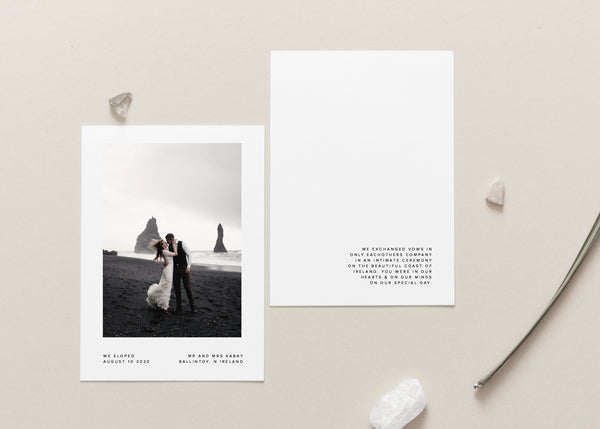 Minimalist Wedding Announcement Card, Elopement Card by Amy Tarah Designs