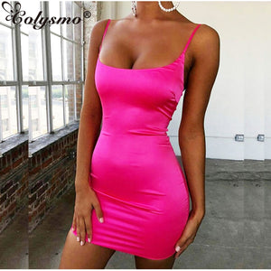 Colysmo Stretch Satin Mini Dress Women Sexy Straps Slim Fit Bodycon Party Dress Neon Green Pink Dress