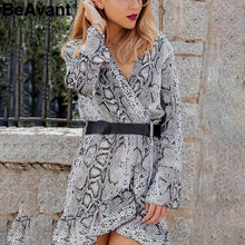 Load image into Gallery viewer, Snake print ruffle women dress winter 2018 V neck flare sleeve autumn dress High waist mini dresses party vestidos
