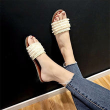 Load image into Gallery viewer, Outside lace fringe flat-soled slippers