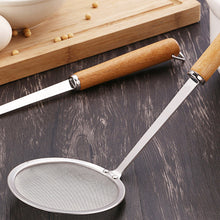 Load image into Gallery viewer, Wooden Handle Stainless Steel Filter Flour Sieve Colander Spoon Kitchen Cookware