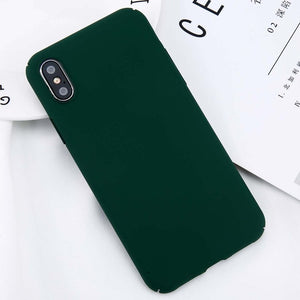 USLION For iPhone X Simple Plain Phone Case Slim Frosted Hard PC Back Cover For iPhoneX 8 7 6 6S Plus 5 5S SE Cases Coque Capa