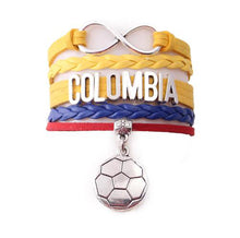 Load image into Gallery viewer, Colombia  bracelet soccer charm leather wrap bangles