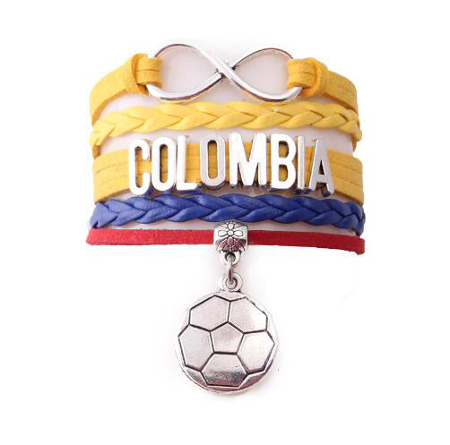 Colombia  bracelet soccer charm leather wrap bangles