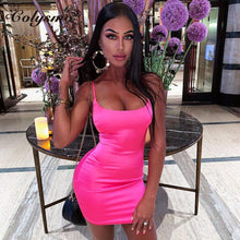 Load image into Gallery viewer, Colysmo Stretch Satin Mini Dress Women Sexy Straps Slim Fit Bodycon Party Dress Neon Green Pink Dress