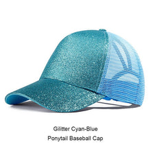 Load image into Gallery viewer, Ponytail Baseball Cap Women Messy Bun Snapback Summer Mesh Hats Casual Sport Sequin Caps Drop Shipping Hat Cap