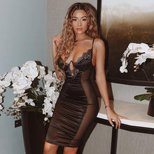 Load image into Gallery viewer, Mesh Sexy Dress Women Summer Bodycon Dresses Bustier Satin Lace Side Sheer Cups Party Dress See Through