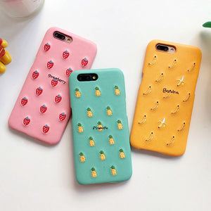 Cute Candy Color PU Embroidery Fruit Pattern Phone Case For iphone X 6 6S 7 8 Plus Cute Banana Strawberry Hard PC Back Cover