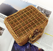 Load image into Gallery viewer, Handmade Mans Cane Small Literature and Art Vintage Tote Straw Bag