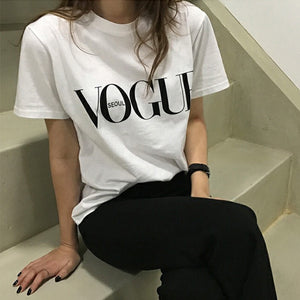 Summer Girl Short Sleeve Tops for Women VOGUE Letter Printed Harajuku T-Shirt Female Camisas