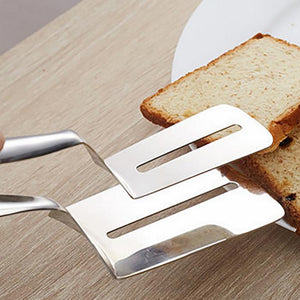 Stainless Steel Food Tong Shovel Spatula Bread Meat Vegetable Clamp BBQ Clip