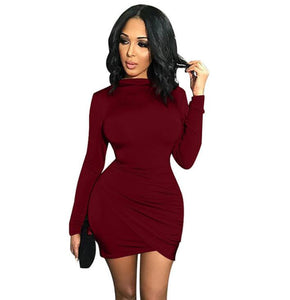 Solid color irregular cross wrinkled long sleeves sexy tight dress for women for autumn winter