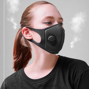 Unisex Sponge Dustproof PM2.5 Pollution Half Face Mouth Mask With Breath Valve Wide Straps Washable Reusable Muffle Respirator