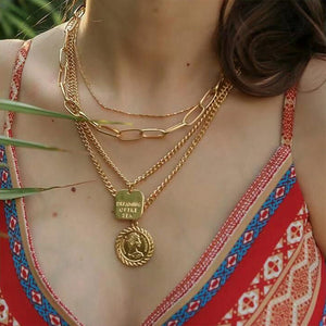 Queen Head Geometric Pendant Necklaces Bohemian Female 4 Layers Necklace Retro Gold Carved Coin Necklace Jewelry