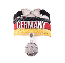 Load image into Gallery viewer, 2018 Germany bracelet soccer charm leather wrap bangles