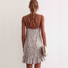 Load image into Gallery viewer, Floral Print Summer Dress Women V Neck Sleeveless Spaghetti Strap Mini Dress Ruffle Casual Beach Dress Sundress Ladies Dresses
