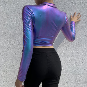 Laser Effect Zipper Woman Tops Skinny Holographic Sexy Party Clubwear Long Sleeve Bodycon Short Style Hoodies Holiday