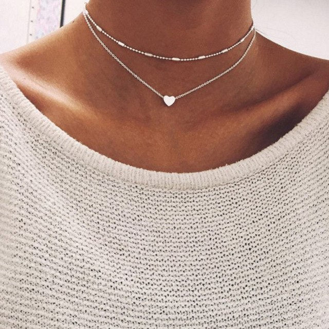 Necklace for Women Heart shape Double Chain Gold Sliver Jewelry Necklaces Ladies Gift Valentine Day Present