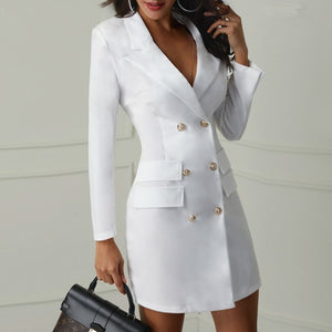 Elegant black women blazer dress short Office long sleeve dress plus size Double breasted white suit ladies dresses