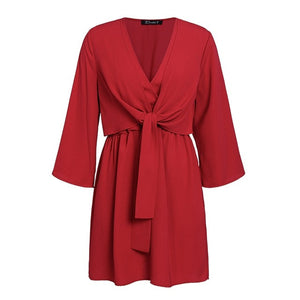 Vintage long sleeve chiffon summer dress women Black bow office bandage dresses Sexy red female ladies short Dress