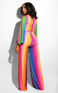 gradient color sexy deep V-neck casual jumpsuit with wide leg micro-bar pants