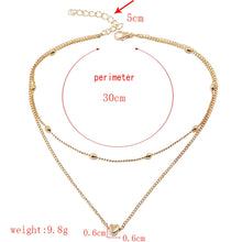 Load image into Gallery viewer, Necklace for Women Heart shape Double Chain Gold Sliver Jewelry Necklaces Ladies Gift Valentine Day Present