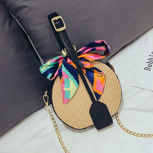Women Bag Cross Body Rattan Handbag Satchel Straw Round Woven Zipper