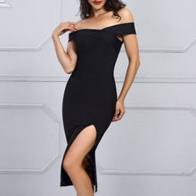 Load image into Gallery viewer, New Summer Celebrity Party Bodycon Bandage Dress Women Short Sleeve Off The Shoulder Sexy Split NightClub Dress Women Vestidos
