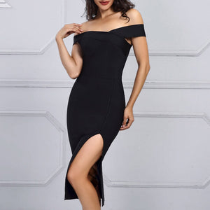 New Summer Celebrity Party Bodycon Bandage Dress Women Short Sleeve Off The Shoulder Sexy Split NightClub Dress Women Vestidos
